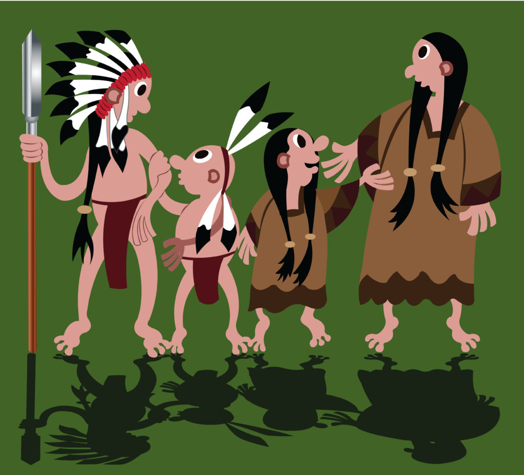 Vector Issue #6691: Native American Family fully dressed in traditional costume ready to perform traditional dances.
