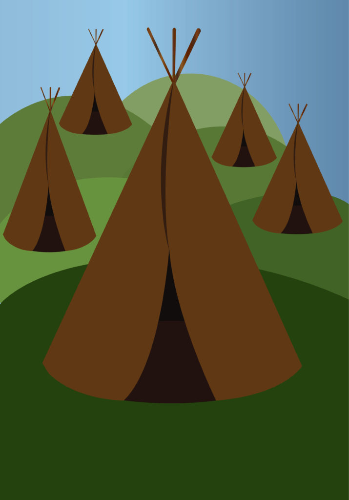 Vector Issue #6690: Native American settlements, quiet small shelters but yet robust enough to withstand all kinds of weather